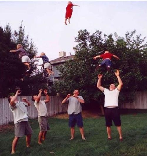 thrown in the air
