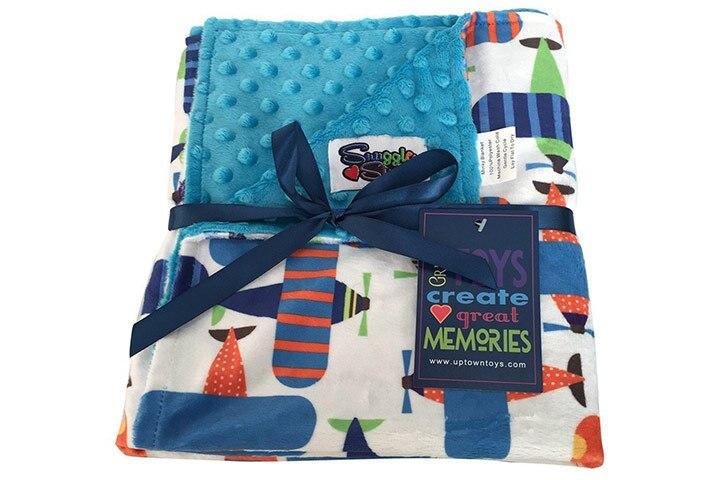 Baby Boys Reversible Minky Velboa Stroller Blanket