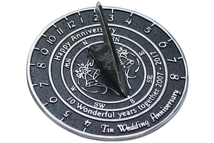 Handmade Tin Wedding & Anniversary Sundial Gift: