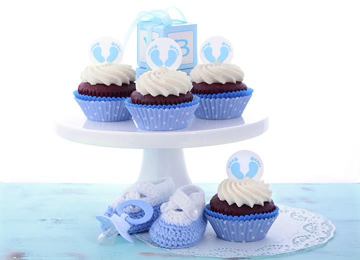 Blue Velvet Cupcakes Dessert for Baby Shower