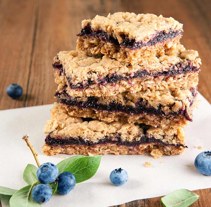Baby Shower Blueberry Oatmeal Snacks Bars Desserts for Newmoms