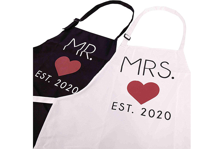 GSM Brands Mr. and Mrs. 2020 Couples Kitchen Aprons
