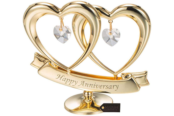 Matashi 24K Gold Plated Beautiful Happy Anniversary Double Heart Table Top Ornament