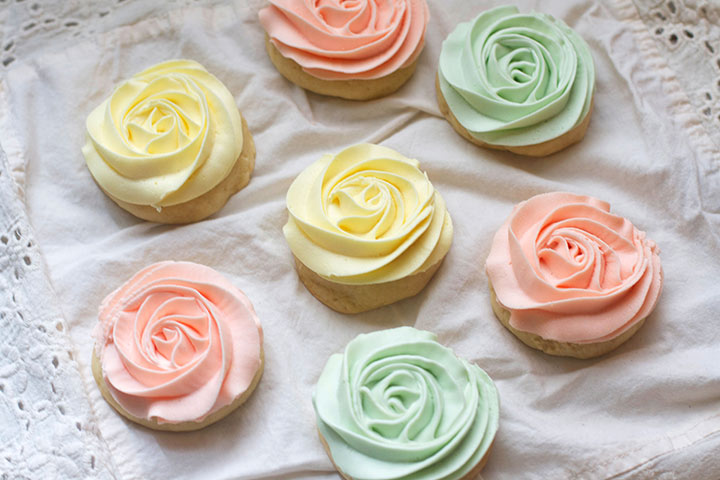 Pastel Rose Sugar Cookies Dessert for Baby Shower