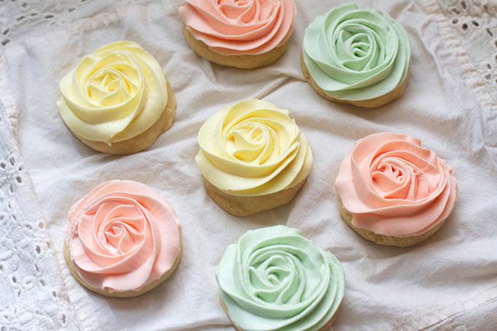 Pastel Rose Sugar Cookies Dessert For Baby Shower