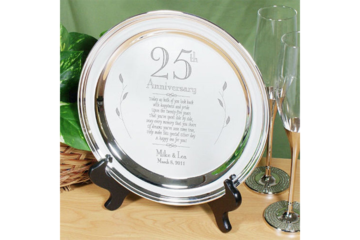Personalized 25th Wedding Anniversary Silver Platter