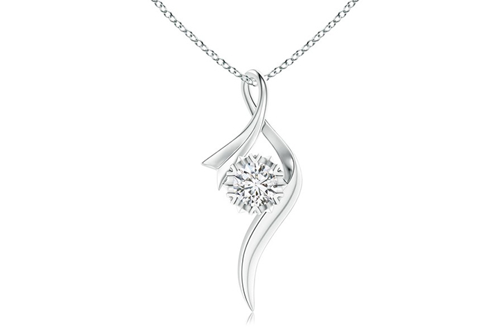 Solitaire Diamond Twist Pendant Necklace