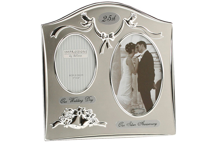 Two Tone Silverplated Wedding Anniversary Gift Photo Frame
