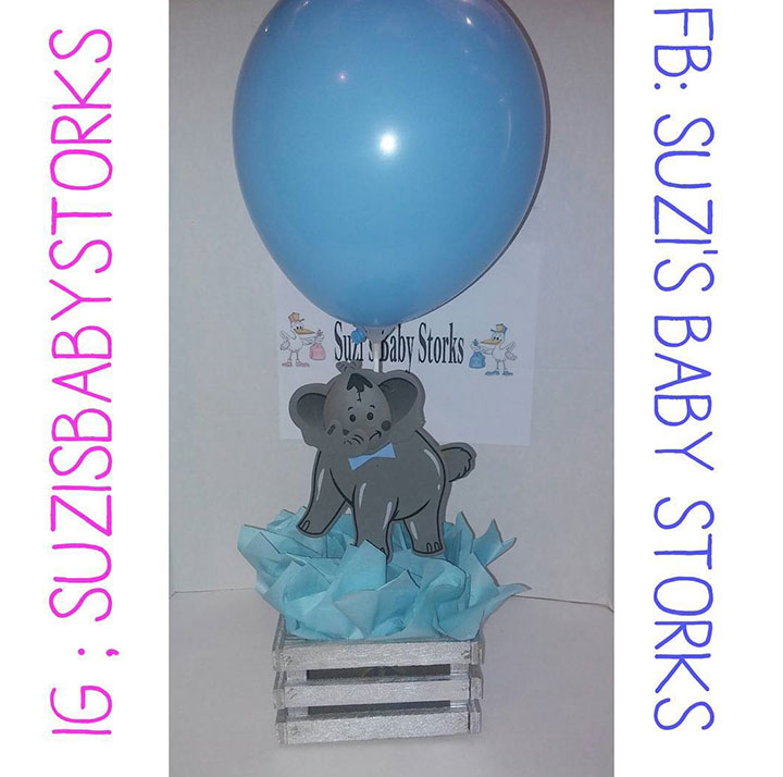 Blue and gray elephant diaper cake centerpiece