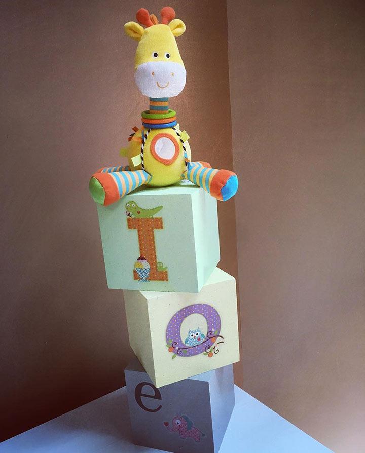 Building blocks baby shower centerpiece