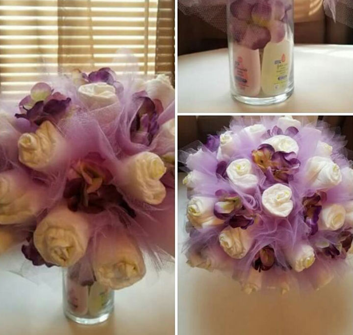 Diaper bouquet baby shower centerpiece