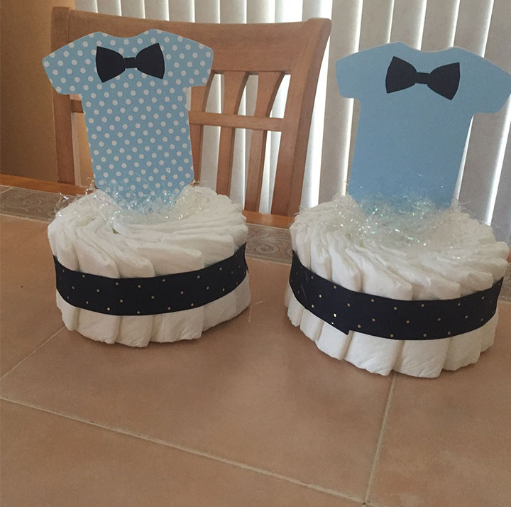 Navy and gray onesie bow tie centerpiece