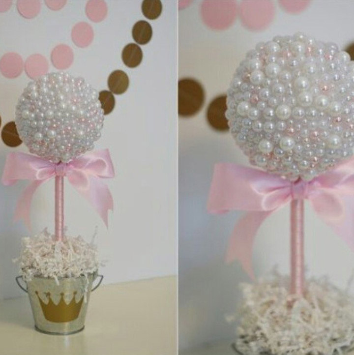 Pearl studded topiary baby shower centerpiece