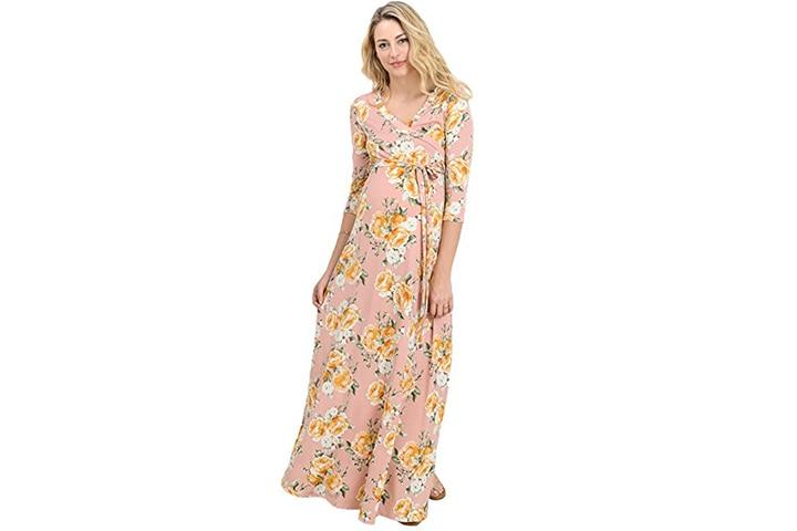 Floral draped maxi maternity dress