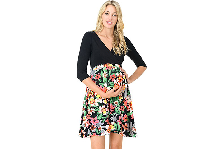 HELLO MIZ V-Neck Block Flower Printed Skater Dress
