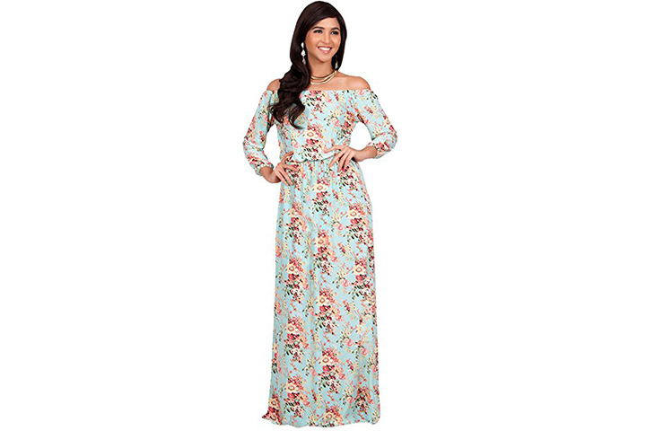KOH KOH Boho long sleeve maxi dress