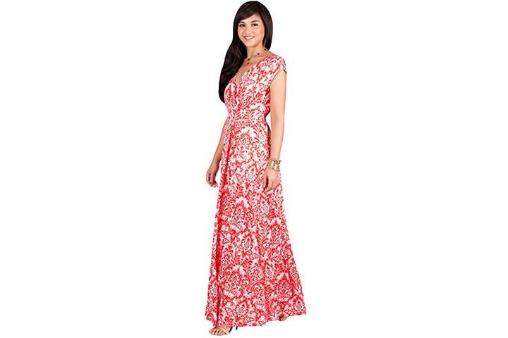 KOH KOH long cap empire waist maxi dress