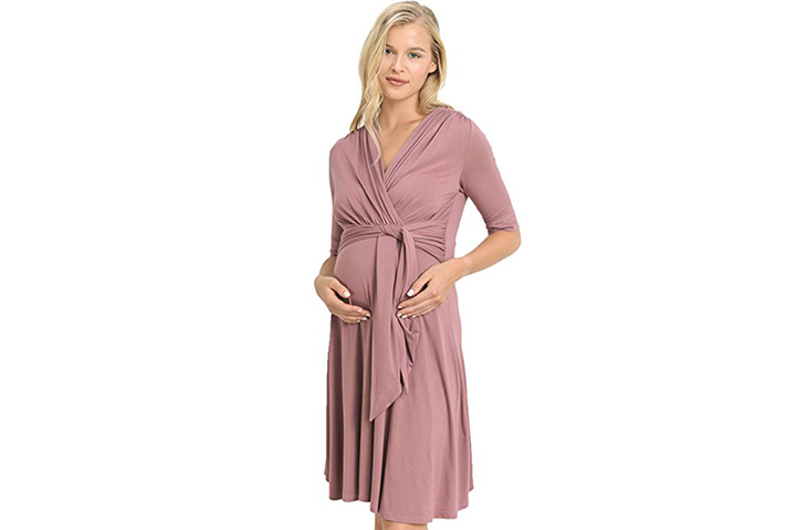 LaClef front tie nursing friendly wrap maternity dress for moms to be