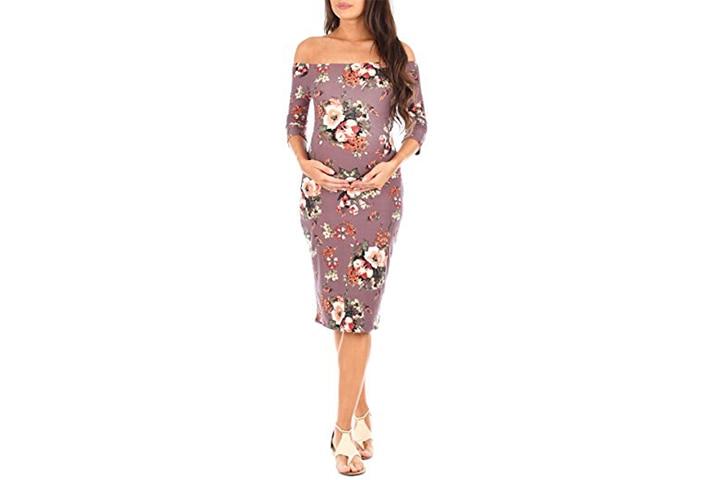 Mother Bee open shoulder floral print dress for baby shower