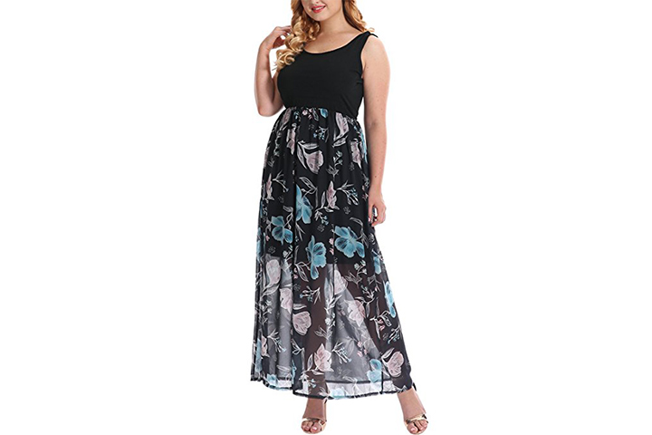 Nemidor knit tank top empire floral print maxi dress