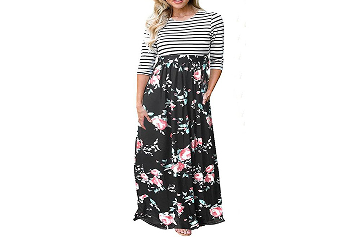 Playworld womens floral printed maxi moms wear during baby shower