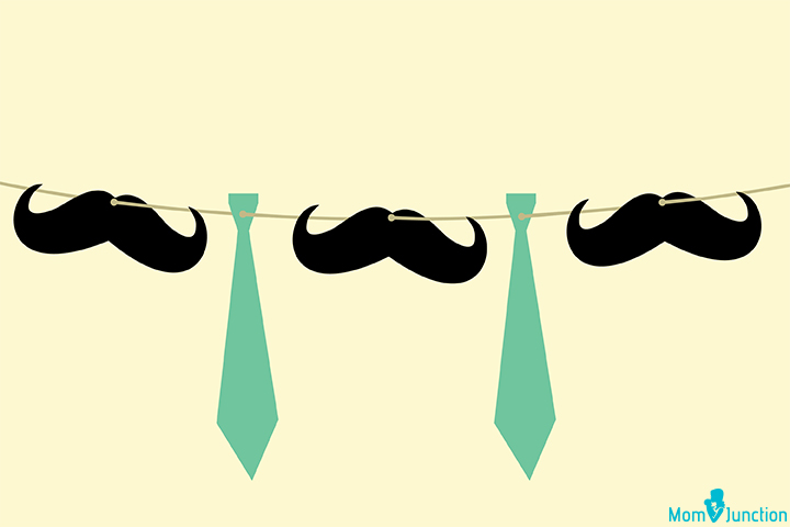 Mustache and tie banner for Baby Shower party