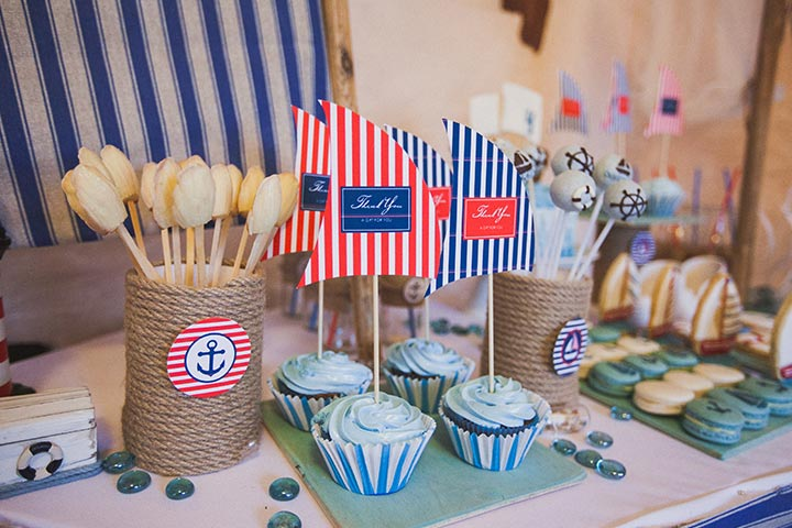 Nautical-themed baby shower table
