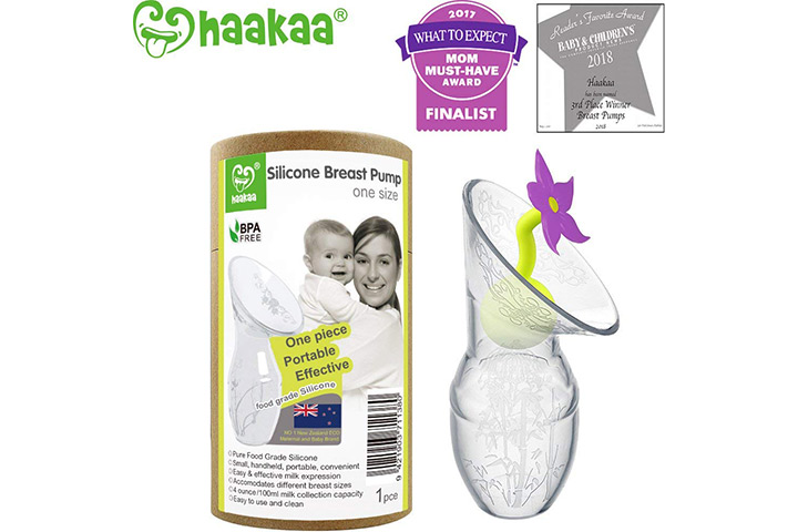 Haakaa breast pump with flower stopper