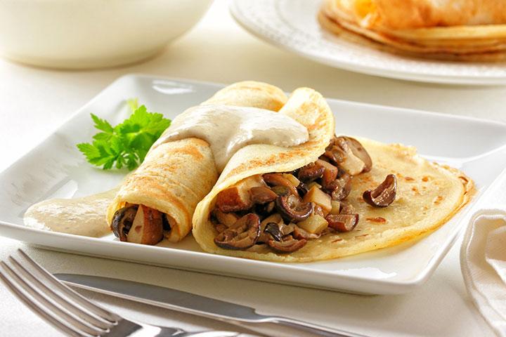 Spinach mushroom pancakes