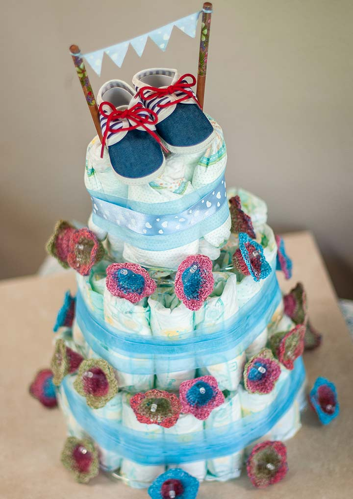 Diaper cake for the centerpiece of a baby shower