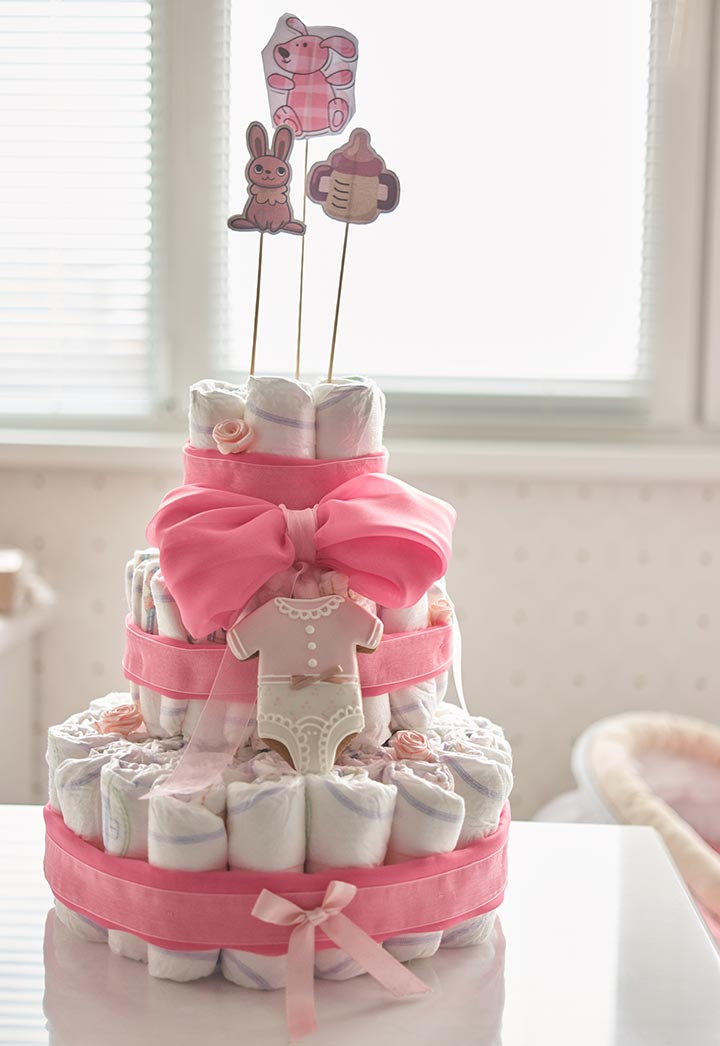 Diaper cake idea for a baby girl