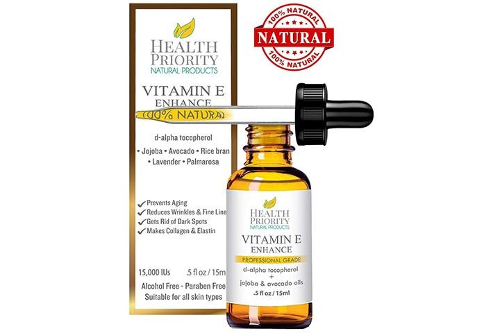 Health Priority's 100% Natural & Organic Vitamin E Oil