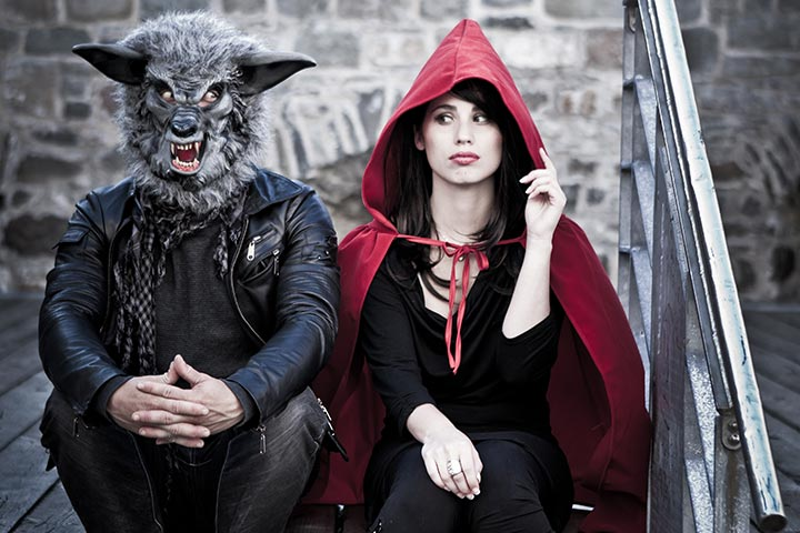 Red riding hood and the big bad wolf scary costumes for couples