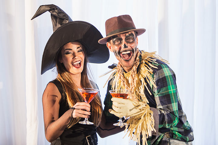 Witch and the Scarecrow Couple Costumes