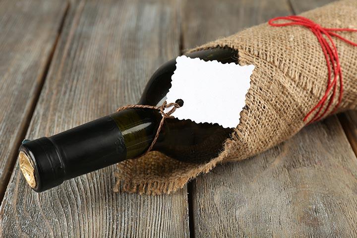 A wine bottle