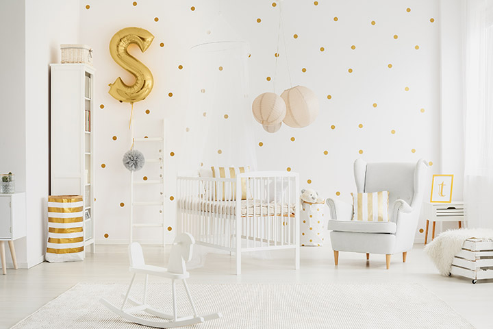 Metallic baby boy room idea