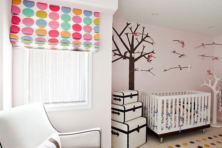 Modern forest theme baby boy room idea