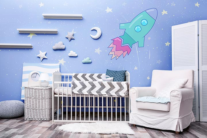 Outer space theme baby room idea