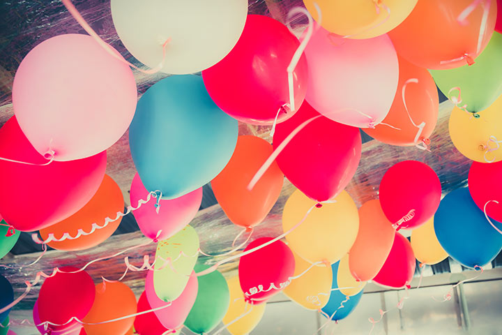 Party with colorful balloons