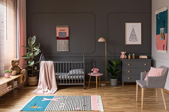 Pink and grey baby boy room idea