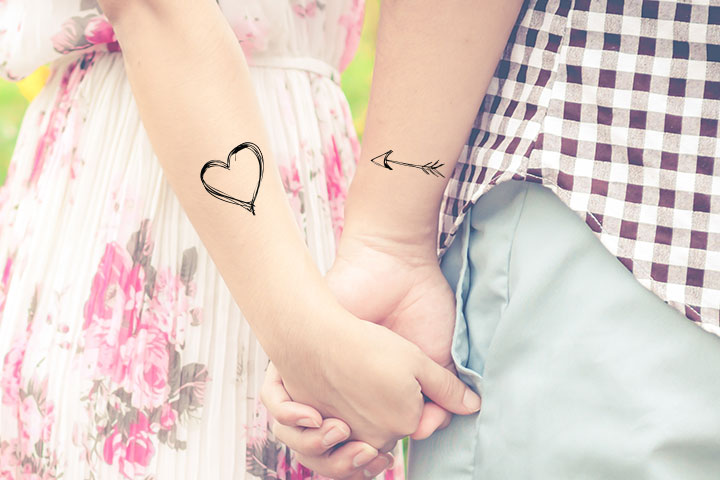 Heart and arrow tattoo for couples