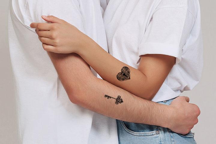 lock and key couple tattoos