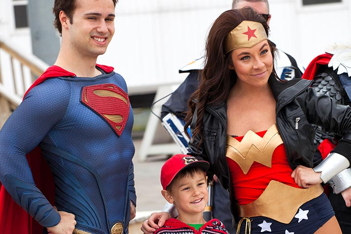 Superman and Wonder Woman family costume