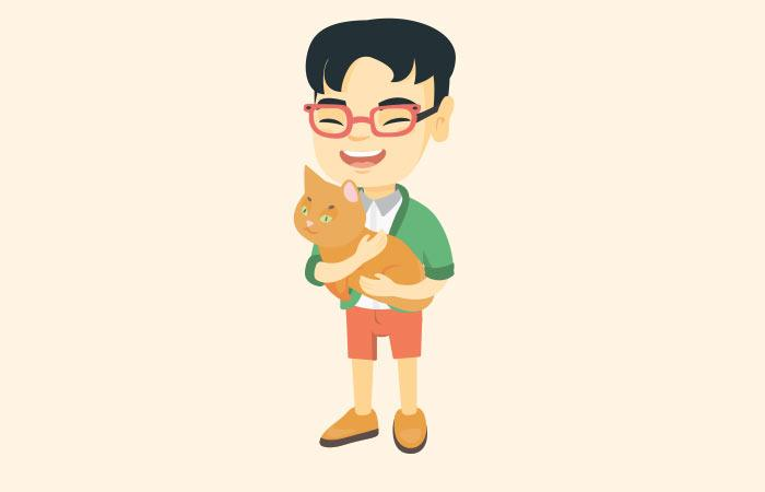 A guy and a cat