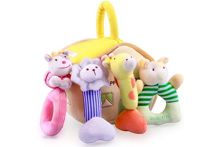 iPlay, iLearn 4 Plush Baby Soft Rattle Set