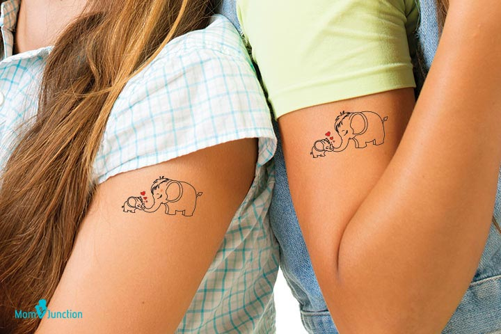 Mother and Daughter Elephant Tattoo