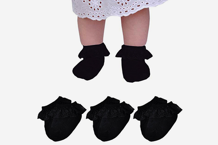 Epeius Baby-Girls Eyelet Frilly Lace Socks