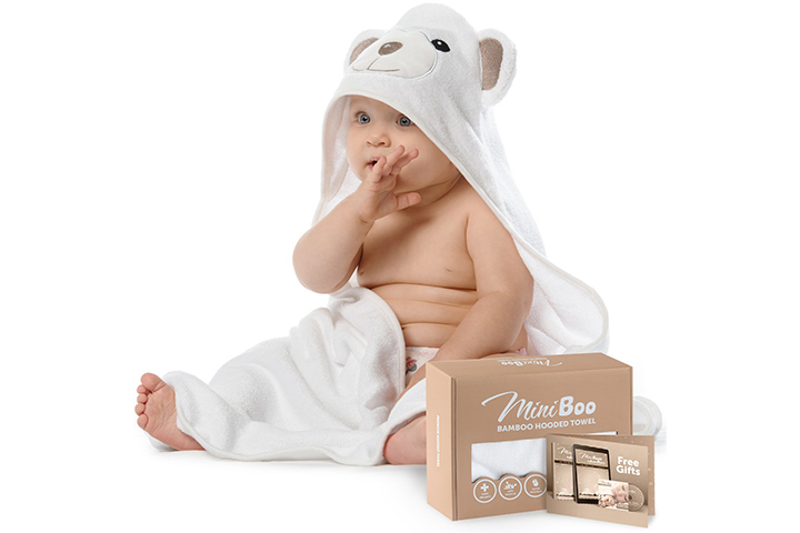 MINIBOO Ultra Soft Organic Bamboo Baby Hooded Towel