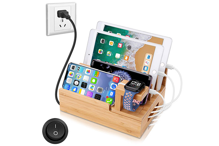 Natural bamboo charging station dock