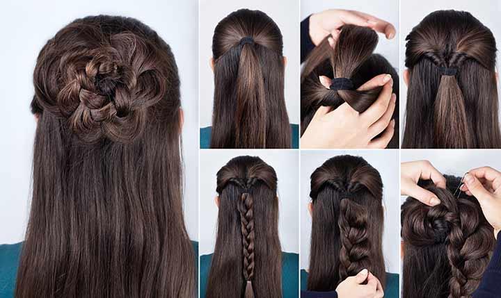 11. Rose braided bun